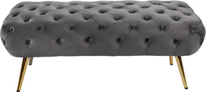Meridian Furniture 138Grey Amara Grey Velvet Bench 647899951015