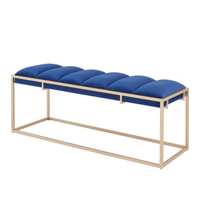 New Pacific Direct 1600033-312 Brooklyn Velvet Fabric Bench Serene Dark Blue