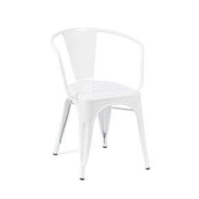 DesignLab MN LS-9001-2-WHT Dreux Glossy White Steel Stackable Dining Chair (Set of 2) 655222620651