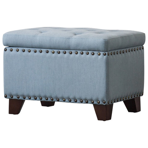 New Pacific Direct 1900116-15 Jonas Fabric Rectangular Nailhead Tufted Storage Ottoman Ocean