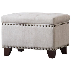 New Pacific Direct 1900116-19 Jonas Fabric Rectangular Nailhead Tufted Storage Ottoman Sand