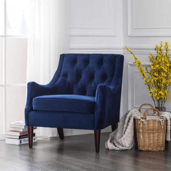 Enjoyable Buy New Pacific Direct 1900121 347 Marlene Velvet Fabric Tufted Accent Chair Navy Blue At Contemporary Furniture Warehouse Forskolin Free Trial Chair Design Images Forskolin Free Trialorg