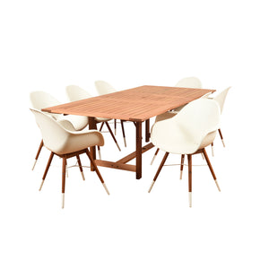 Outdoor Dining Sets - International Home Miami BT542_8CHAMWHT Amazonia Charlotte 9 Piece Rectangular Patio Dining Set | 870069007186 | Only $1504.80. Buy today at http://www.contemporaryfurniturewarehouse.com