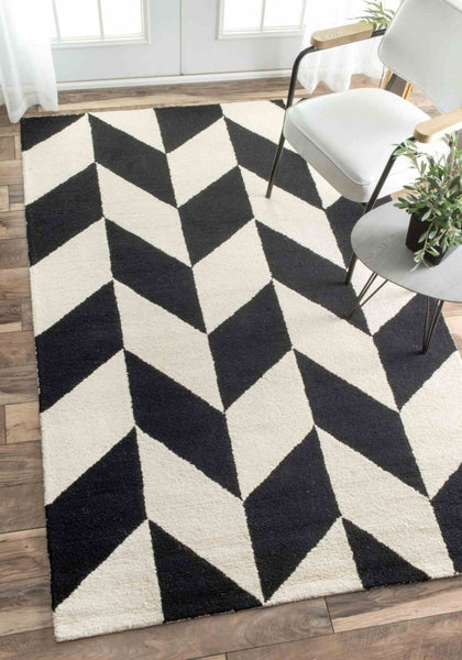 Nuloom Hand Tufted Katte Black And White Rug