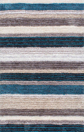 Nuloom Hand Tufted Classie Shag Blue Multi-Color Rug