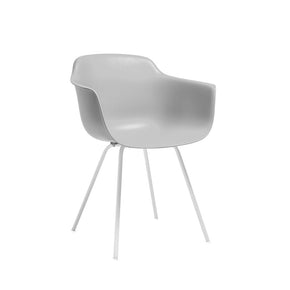 DesignLab MN LS-9342-PLTWHT Grazia Platinum Mid Century Arm Chair White Base Original Design (Set of 4) 646263991466