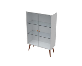 Lina Mid Century Style Cabinet with Glass Doors in White Satin
