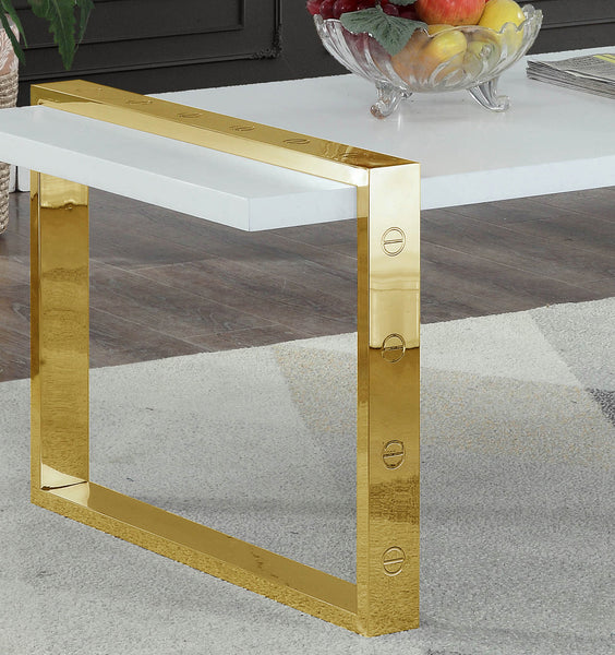 Buy Meridian 273-C Amore White Lacquer / Gold Coffee Table at Contemporary  Furniture Warehouse