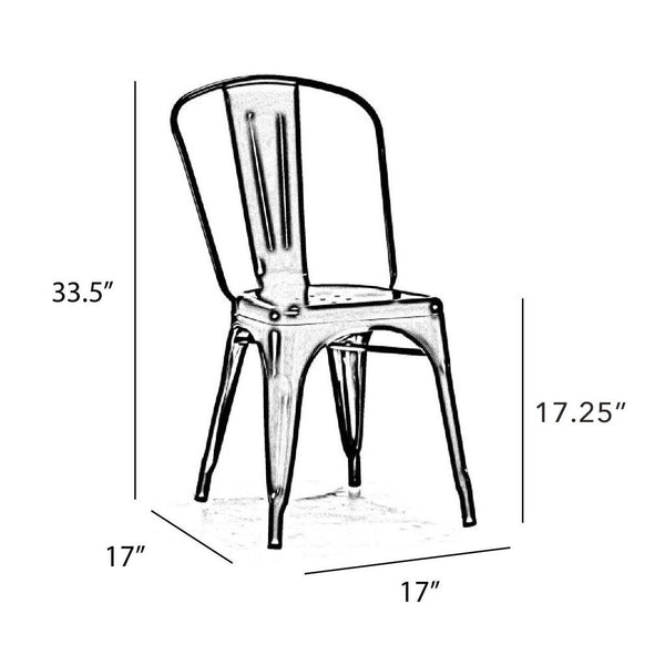Dreux Glossy White Steel Stackable Side Chair (Set of 2)