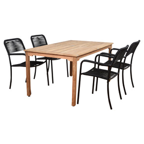 International Home Miami MALREC_4PORTBYR Amazonia Oosterdam 5 Piece Teak Rectangular Patio Dining Set