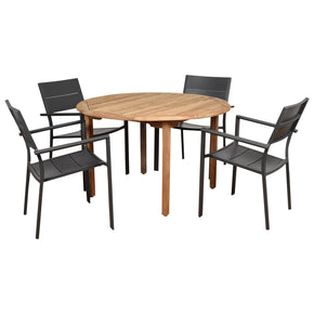 International Home Miami MALRND_4CALIARM Amazonia Koningsdam 5 Piece Teak Round Patio Dining Set