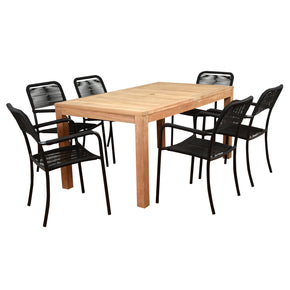 International Home Miami RINRECT_6PORTBY Amazonia Oosterdam 7 Piece Teak Rectangular Patio Dining Set