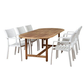 Amazonia Noordam 7 Piece Teak Oval Patio Dining Set