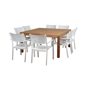 International Home Miami RINSQ_8PORTNELS Amazonia Noordam 9 Piece Teak Square Patio Dining Set