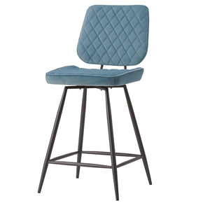 New Pacific Direct 3400033-338 Lawson Velvet Fabric Swivel Counter Stool, Set of 2 Conrad Teal
