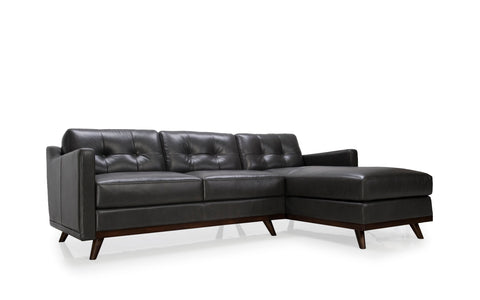 Monika Mid-Century Leather Sectional 2pcs Charcoal Grey