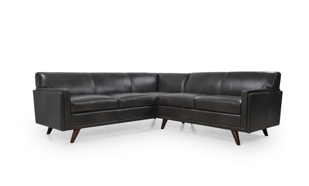 Milo Mid-Century Sectional 2pcs Charcoal