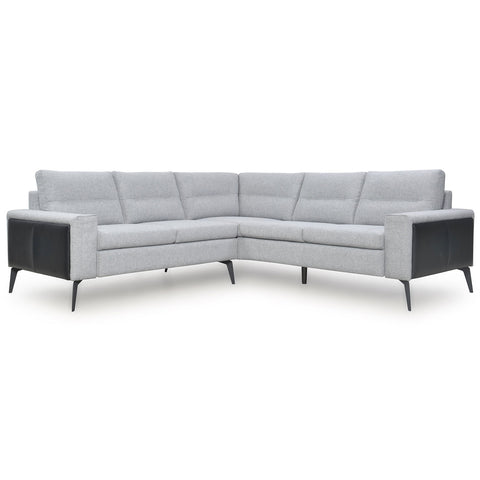 Trina Full Leather Sectional 2pcs Light Grey (main) / Argent (accent)
