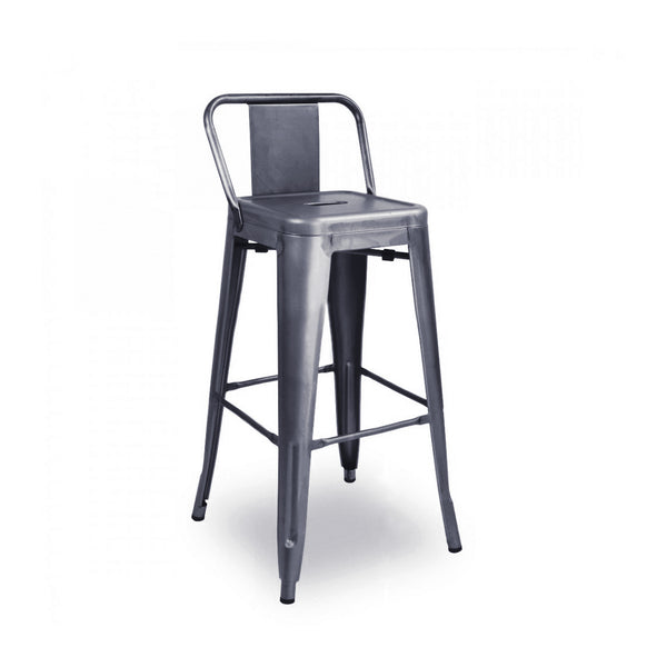 DesignLab MN LS-9102-DGUNLB Dreux Dark Gunmetal Low Back Steel Counter Stool 26 Inch (Set of 4) 655222619693