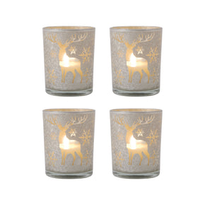 Candle Holders - Elk Group ELK-394607/S4 Reindeer Set of 4 Pillar Holders Silver Art | 769072394607 | Only $67.20. Buy today at http://www.contemporaryfurniturewarehouse.com