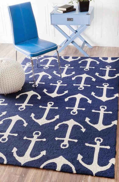 Nuloom Hand Hooked Despina Indoor/ Outdoor Area Rug Navy