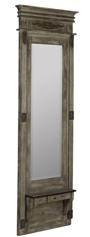 Lordes Mirror Antiqued Wood with Aged Cream Highlights and Rusted Metal Accents; Beveled Mirror; Small Shelf and Drawer | Modern Mirror by Cooper Classics at Contemporary Modern Furniture  Warehouse