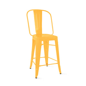 DesignLab MN LS-9111-YLW Dreux Glossy Yellow Steel Counter Chair 24 Inch (Set of 4) 655222620002