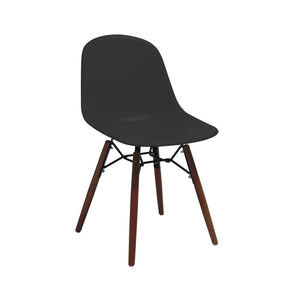 DesignLab MN LS-9441-BLKWAL Grazia Black Mid Century Side Chair Walnut Base Original Design (Set of 4) 646263991503