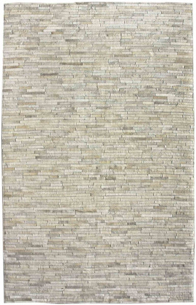 Nuloom Hand Woven Clarity Patchwork Cowhide Beige Rug