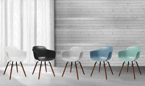 Dining Chairs - Design Lab MN LS-9341-SRFWAL Grazia Surfin Mid Century Arm Chair Walnut Base Original Design (Set of 4) | 646263991435 | Only $274.80. Buy today at http://www.contemporaryfurniturewarehouse.com