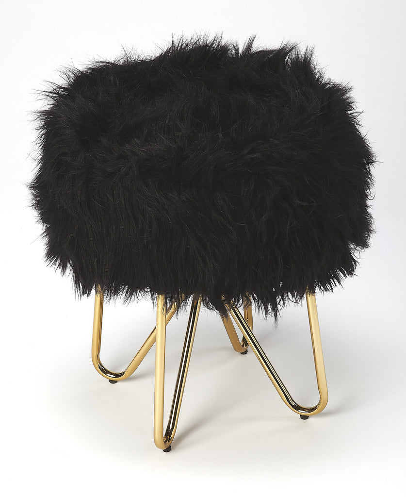 Butler Furniture 5205402 Ezra Black Faux Fur Stool 797379046431