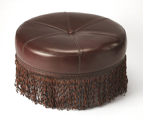 Butler Furniture 5295350 Alina Brown Leather Round Cocktail Ottoman 797379044970