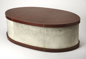 Butler Furniture 5300350 Leandro Hair-On-Hide Leather Oval Coffee Table 797379045021