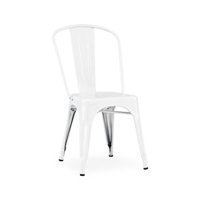 DesignLab MN LS-9000-2-WHT Dreux Glossy White Steel Stackable Side Chair (Set of 2) 655222620583