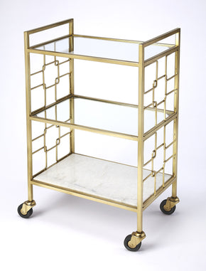 Butler Furniture 5347402 Arcadia Polished Gold Bar Cart 797379046035