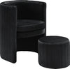 Selena Black Velvet Accent Chair and Ottoman Set