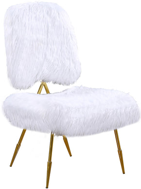 Meridian Furniture 577White Magnolia White Fur Accent Chair 704831399974
