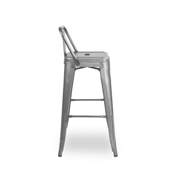 Dreux Gunmetal Low Back Steel Counter Stool 26 Inch (Set of 4)