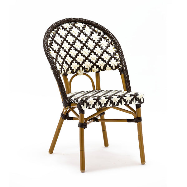 Dining Chairs - Design Lab MN LS-3005-BRNWHT Les Ulis Aluminum Bamboo Stackable Side Chair | 655222620750 | Only $169.80. Buy today at http://www.contemporaryfurniturewarehouse.com