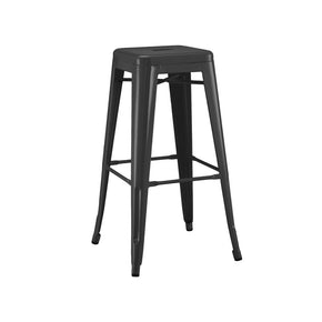 DesignLab MN LS-9100-MTBLK Dreux Matte Black Steel Stackable Barstool 30 Inch (Set of 4) 640746589423