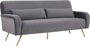 Meridian Furniture 607Grey-S Clarissa Grey Velvet Sofa 647899952777