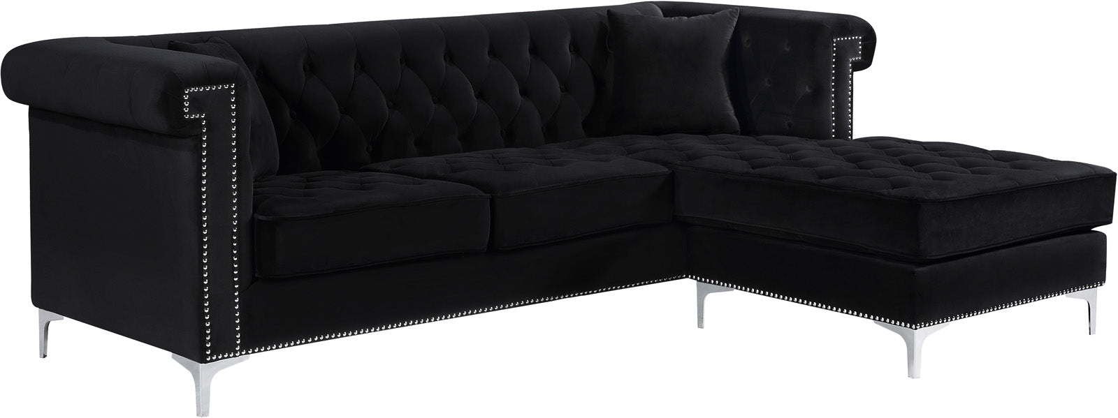 Damian Black Velvet 2pc. Reversible Sectional
