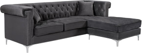 Meridian Furniture 608Grey-Sectional Damian Grey Velvet 2pc. Reversible Sectional 647899950353