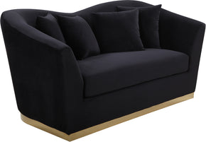 Meridian Furniture 617Black-L Arabella Black Velvet Loveseat 647899950148