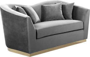 Loveseats - Meridian 617Grey-L Arabella Curved Back Grey Velvet Loveseat | 647899950179 | Only $1149.80. Buy today at http://www.contemporaryfurniturewarehouse.com