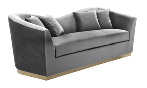 Meridian Furniture 617Grey-S Arabella Grey Velvet Sofa 647899950162