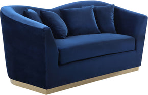 Meridian Furniture 617Navy-L Arabella Navy Velvet Loveseat 647899950209