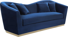 Meridian Furniture 617Navy-S Arabella Navy Velvet Sofa 647899950193