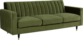 Sofas - Meridian 619Olive-S Lola Olive Velvet Sofa | 647899952715 | Only $1039.80. Buy today at http://www.contemporaryfurniturewarehouse.com