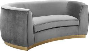 Meridian Furniture 620Grey-L Julian Grey Velvet Loveseat 647899950261